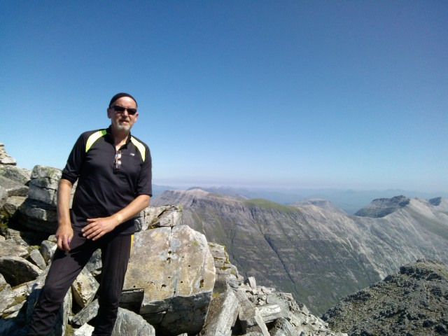 Liathach summit, Torridon, with Beinn Eighe in the background, July 19th 2013.