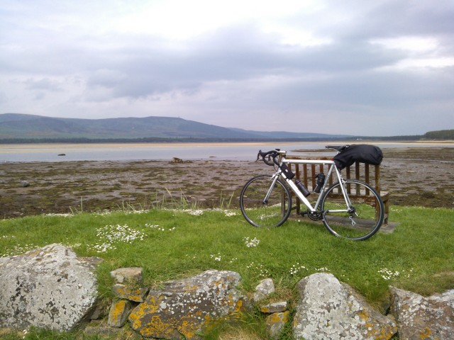 Loch Fleet. Look closely and you'll see the offending statue at Golspie on the distant hilltop.