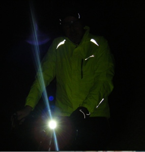 Portrait of a winter cyclist with added Grade A darkness.