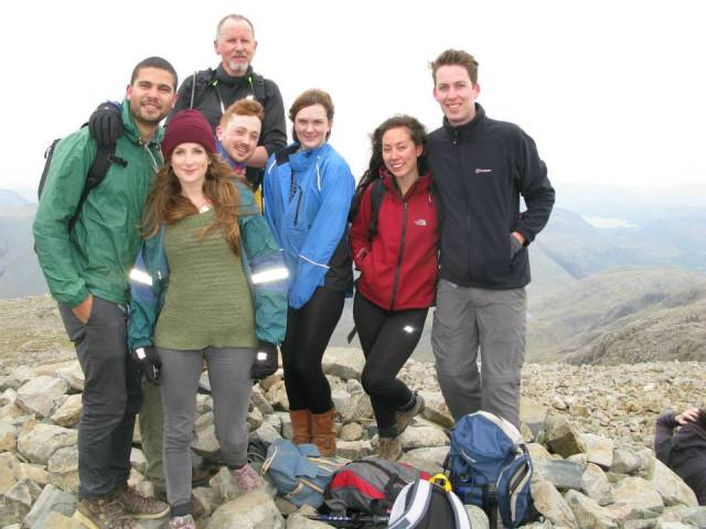 Matt, Beth, Stuart, Andrew, Hazel, Lily, Dan. Scafell Pike summit. Snowdon was duly conquered the following day. :)
