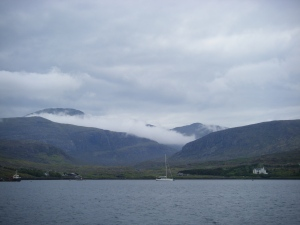 Clisham, Harris, in the mist. The highest point in the Outer Hebrides. the mist from Loch Seaforth.