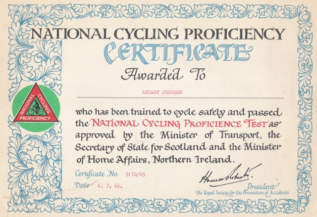 Stu's Cycling Proficiency Certificate, 1965