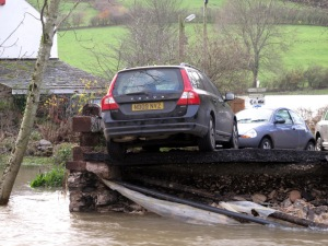 And a reminder; the remains of the same bridge in November 2009, after the heaviest day's rain ever recorded in the UK - 13.5 inches!