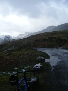 Langdale Pikes from a wet High Close.